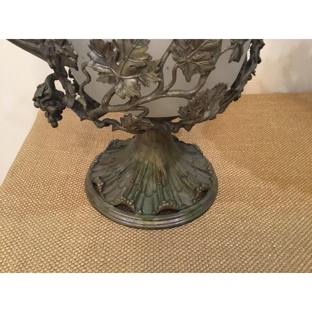 Traditional 19th Century Antique Glass and Metal Urns - a Pair For Sale - Image 3 of 9