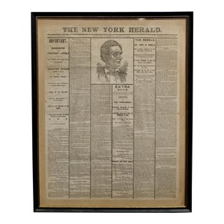 Lincoln Assassination The New York Herald 15 April 1865 Front Page For Sale