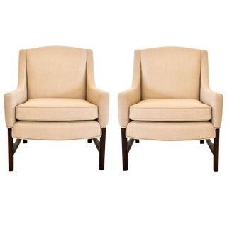 1950s Beige Lounge Chairs Attributed to Edward Wormley for Dunbar - a Pair For Sale