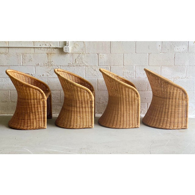 Boho Chic 1960s Trompe L' Oeil Wicker Rattan Dining Set – 5 Pieces For Sale - Image 3 of 11