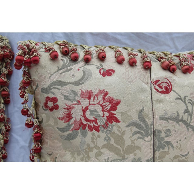 Vintage Italian/French Silk Down Embroidered Down Pillows - Set of 5 For Sale In San Diego - Image 6 of 9