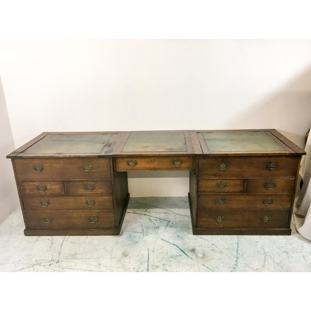 19th-C. English Oak Map Chest Desk - Image 9 of 9