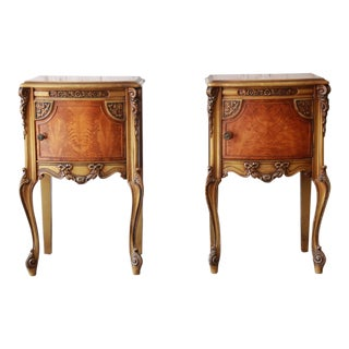 Vintage French Louis XVI Style Carved Nightstands, Pair