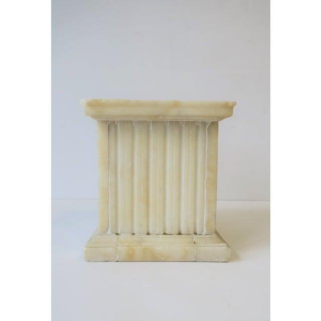 Stone Italian Alabaster Marble Column Pedestal For Sale - Image 7 of 13