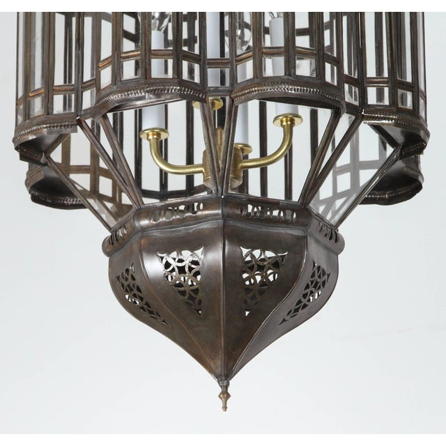 Late 20th Century Large-Scale Moroccan Moorish Pendant Chandelier, Metal and Clear Glass For Sale - Image 5 of 7
