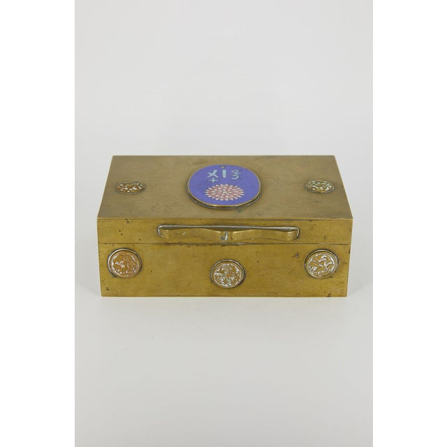 Metal Vintage Chinese Brass and Enamel Box For Sale - Image 7 of 7