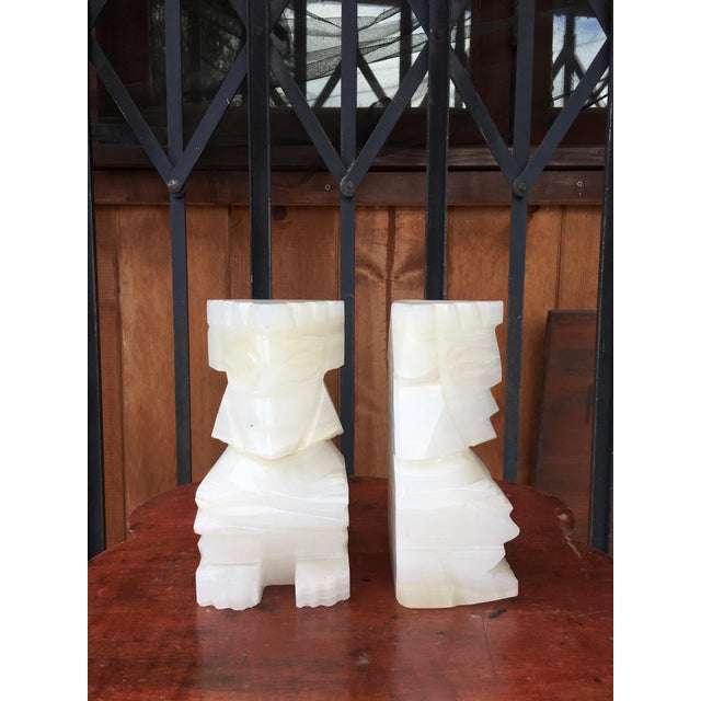 Mid-Century Modern Vintage Marble Aztec Bookends - a Pair For Sale - Image 3 of 9