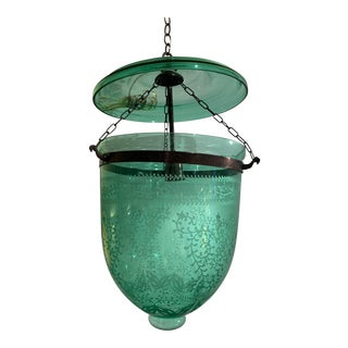 Vintage English Green Etched Glass Bell Jar Fixture For Sale