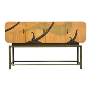 White Furniture Green Dye Modern Credenza For Sale