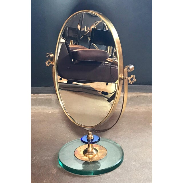 1960s neoclassical Italian midcentury brass Italy table vanity mirror. Polished brass and art glass Great manufacture.