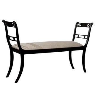 English Empire Style Ebonized Sleigh Bench with Upholstered Seat, circa 1900