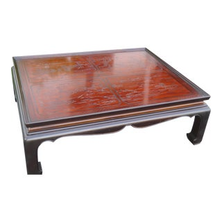 Drexel Heritage Carved Hollywood Regency Chinoiserie Cocktail Coffee Table 2348 For Sale