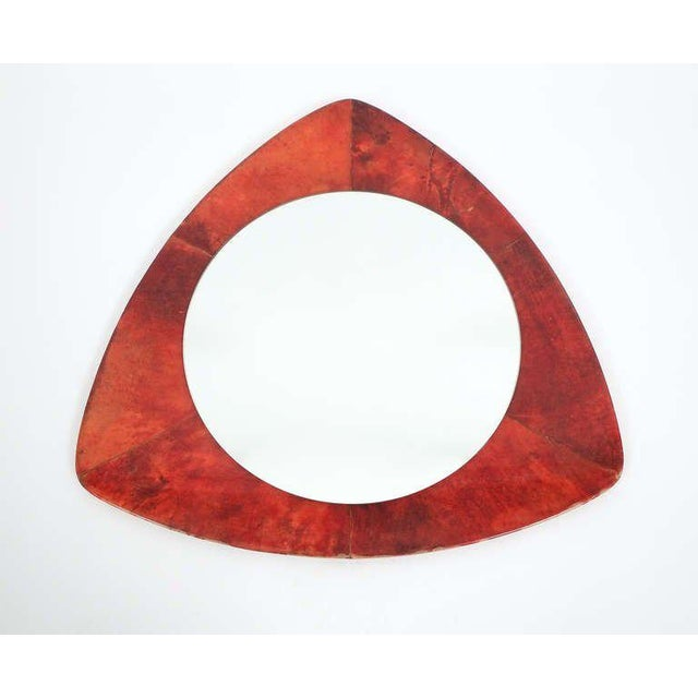 Animal Skin Rare Aldo Tura Red Parchment Mirror, Italy 1950 For Sale - Image 7 of 7