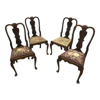 1960s Vintage Queen Anne Style Needlepoint Dining Chairs- Set of 4 For Sale