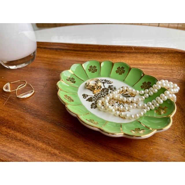 1960s Vintage Green Flower Dish For Sale - Image 5 of 6