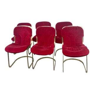 1970s Willy Rizzo for Cidue Italian Brass Dining Chairs - Set of 6 For Sale