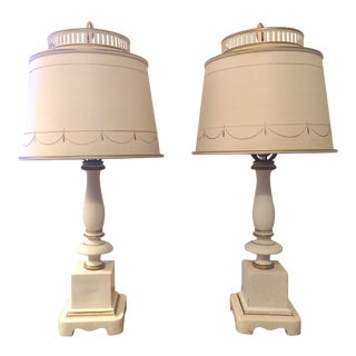 1950s Levinson Cream Colored Tole Table Lamps - a Pair For Sale