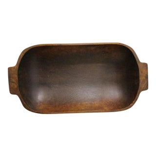1820s Meddieval Hand Hewn Cherry Wood Trencher Dough Bowl With Ears