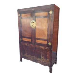 Vintage Chinese Country Lacquered Wedding Cabinet For Sale