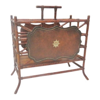 Faux Bamboo & Leather Magazine Rack For Sale