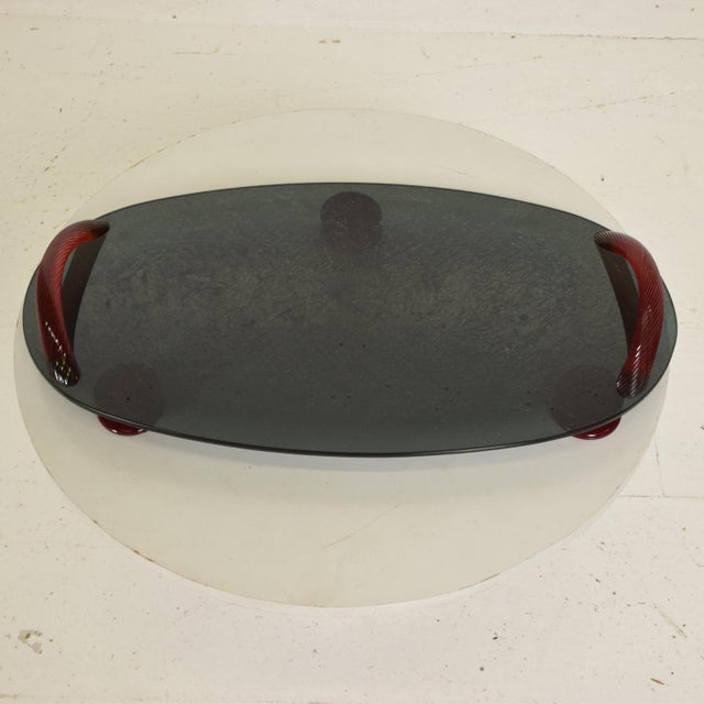Glass Modernist Oval Serving Tray in Smoke Glass With Red Ruby Glass Handles and Sabots Signed For Sale - Image 7 of 10