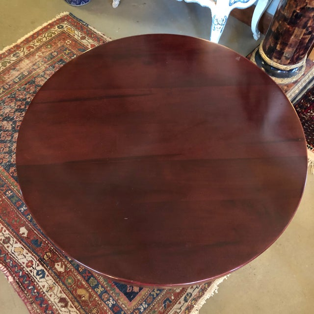 Art Deco 1980s Traditional Swaim Furniture Two-Tiered Round Center Table For Sale - Image 3 of 10