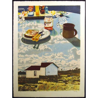 """Howard Kanovitz """"Windmill Antilles"""" Signed Surreal Lithograph Art Print C.1980 For Sale"""