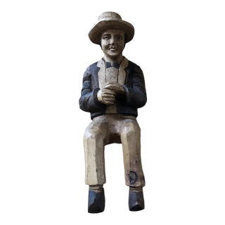 Vintage French Carved Gentleman Statue With Hat For Sale