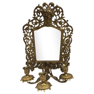 Bacchus Brass Beveled Mirror With Candelabra For Sale