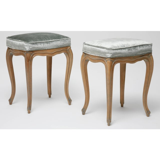 Vintage Louis XV Beechwood Benches / Stools in Blue-Grey Silk Velvet - a Pair For Sale - Image 4 of 11