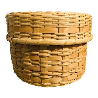 Vintage Lidded Basket For Sale