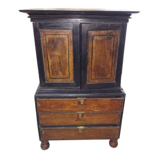 1920s Anglo Indian Ebony and Satinwood Cupboard For Sale