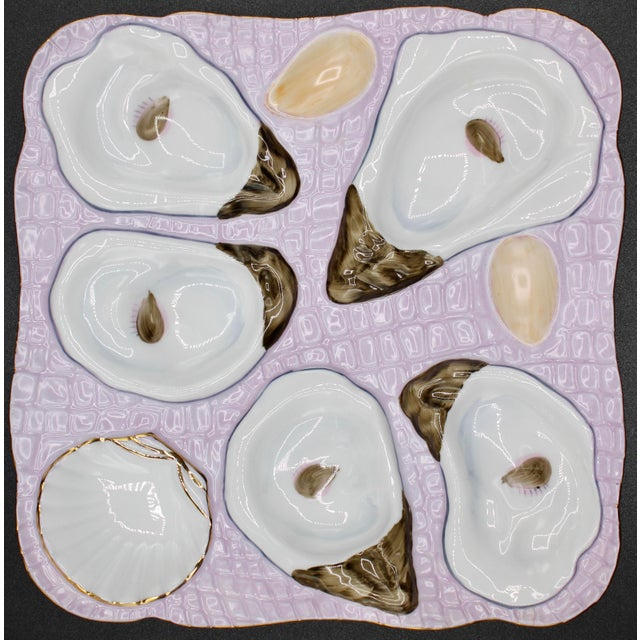 Ceramic 1960s Lavender Blush Oyster Plate For Sale - Image 7 of 9