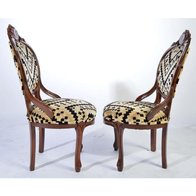 Wood Victorian Parlor Chairs Having Carved Mahogany Frames With Art Deco Upholstery For Sale - Image 7 of 8