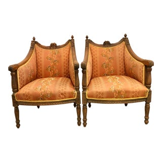 19th Century Louis XVI Stained Beech Bergere Chairs - a Pair For Sale