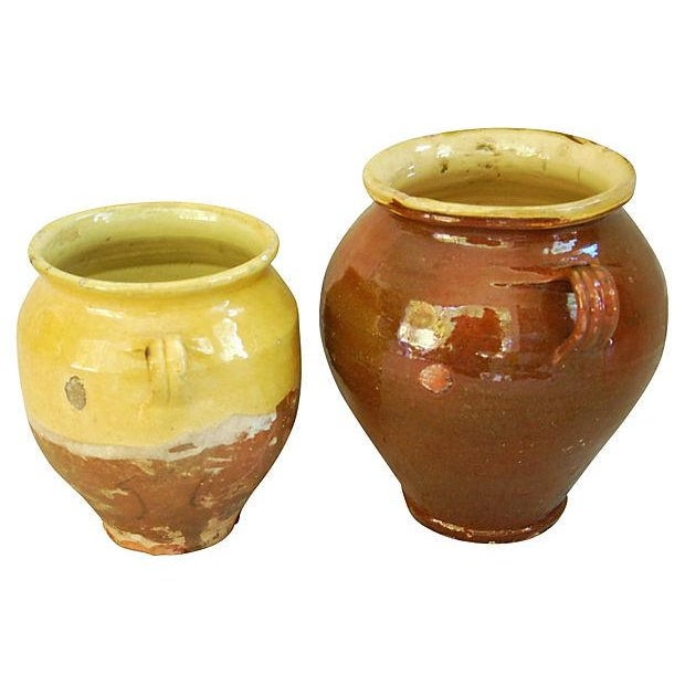 French Glazed Double Handled Confit Pots - Pair - Image 3 of 7