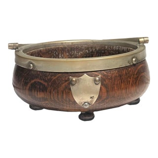 Antique English Regency Bowl With Brass - Treenware For Sale