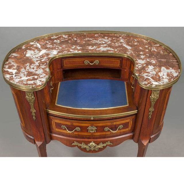 Early 20th Century French Louis XV Mahogany Kidney Shaped Ladies Desk For Sale - Image 11 of 11
