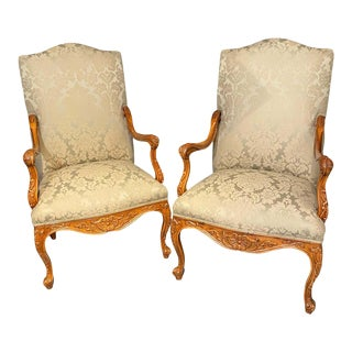 Louis XVI Style Antique Arm, Throne Chairs Finely Upholstered a Pair For Sale