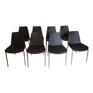 Modern Soho Concept Eiffel Classy Black Leatherette Chairs- 8 Available For Sale