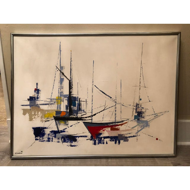 1970s Vintage Jp Collin Abstract Sailboat Painting For Sale - Image 9 of 9