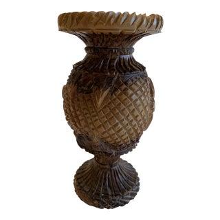 Rustic Hand Carved Olive Wood Vase For Sale