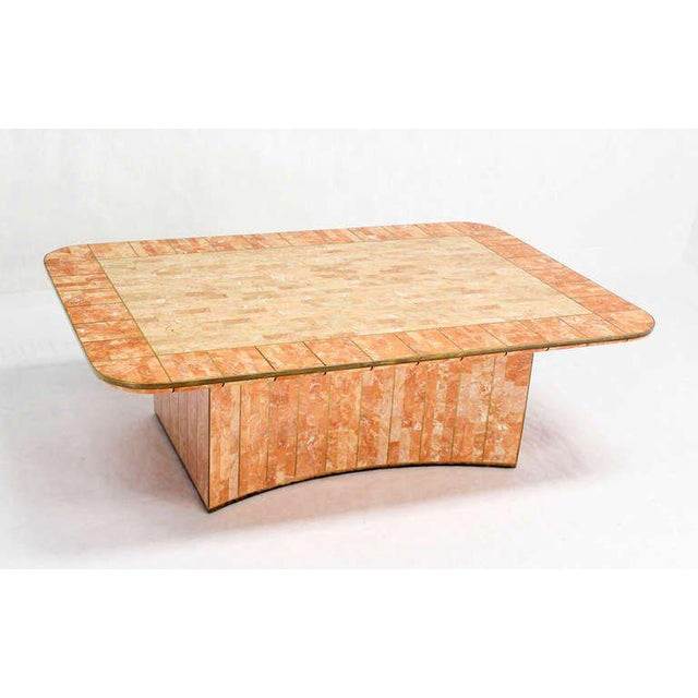 Gold Maitland Smith Tessellated Stone Brass Mid Century Modern Rectangle Coffee Table For Sale - Image 8 of 10