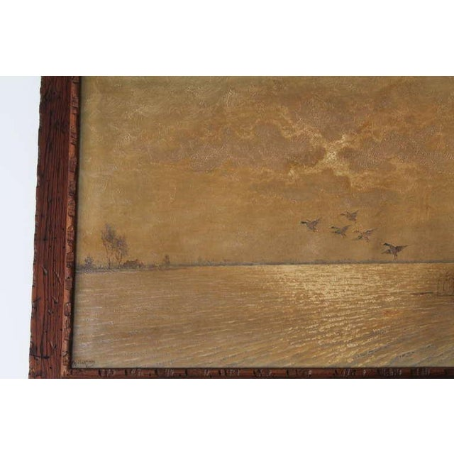 1930s Ducks in Flight Original Wood Framed Oil Painting For Sale - Image 5 of 7