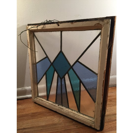 Vintage Art Deco Stained Glass Window Panel - Image 2 of 3