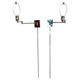Pair of Chrome Wall Mounted Swing Arm Lamps Designed by George W. Hansen For Sale