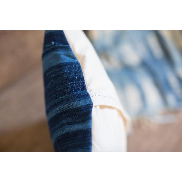 Dark Blue Striped Indigo Lumbar Pillow - Image 6 of 6