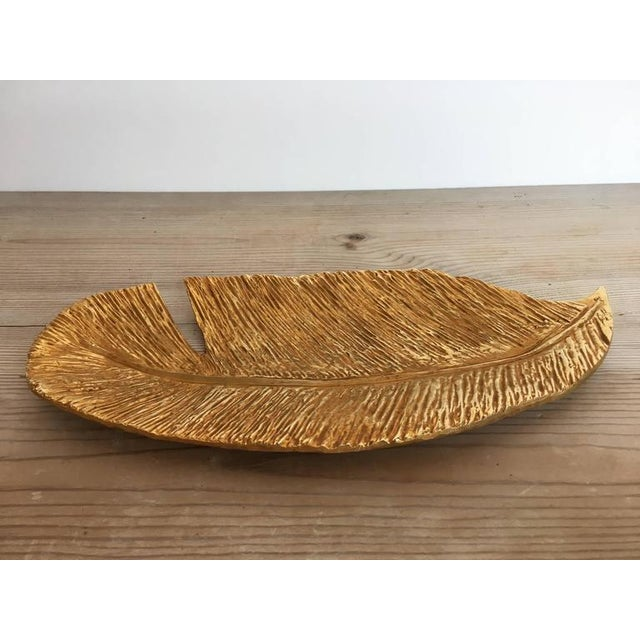 "Hollywood Regency Gilded ""Plume"" Tray For Sale - Image 3 of 3"