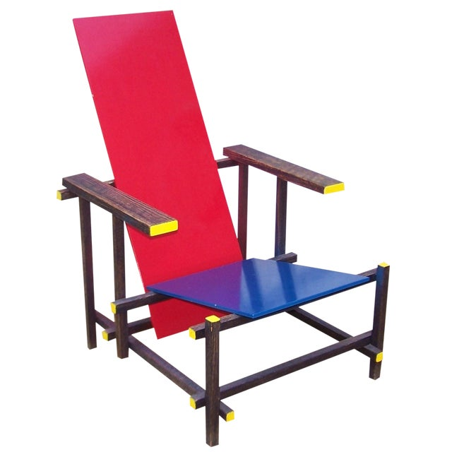 Gerrit Rietveld Style Red & Blue Chair For Sale