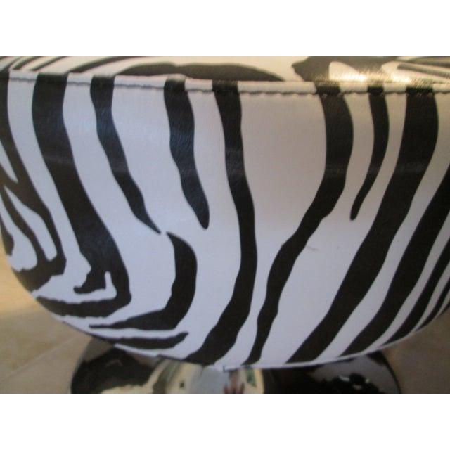 Black & White Zebra Print Chrome Ottoman For Sale - Image 5 of 9